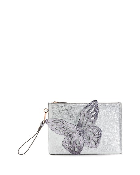 Sophia Webster Flossy Glitter Butterfly Pochette Clutch Bag