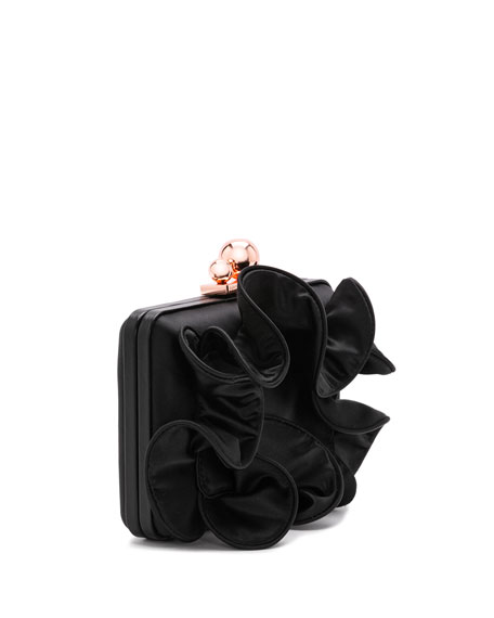 Vivi Ruffle Satin Box Clutch Bag with Chian