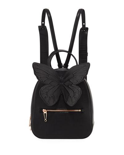 Kiko Leather Butterfly Backpack, Black