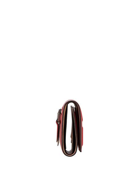 Emblem Colorblock Leather 3-Fold Wallet
