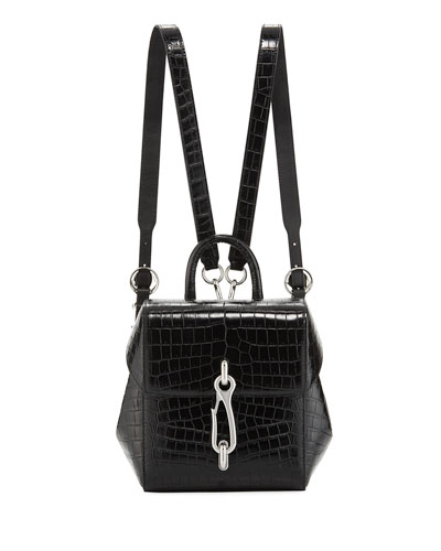 Hook Mini Croc-Embossed Leather Backpack Bag