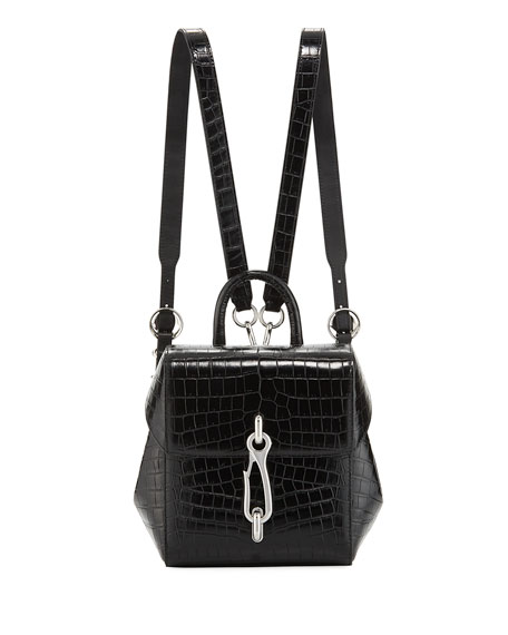 Alexander Wang Hook Mini Croc-Embossed Leather Backpack Bag