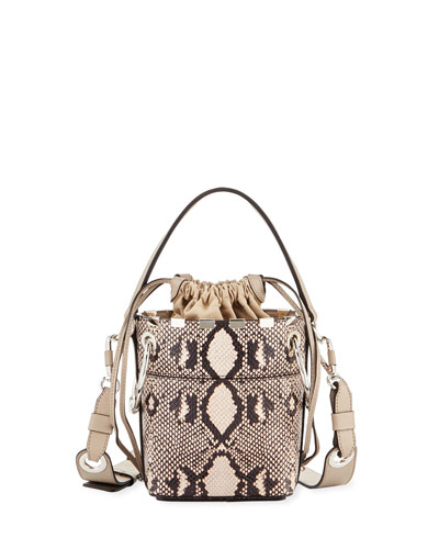 Chloe Roy Mini Python-Print Bucket Bag