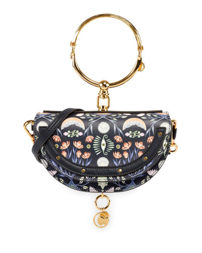 Chloe Nile Artistic Print Minaudiere Clutch Bag with Bangle Handle