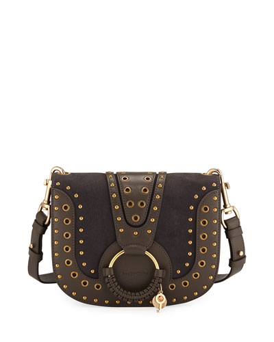 Hana Studded Leather/Suede Shoulder Bag