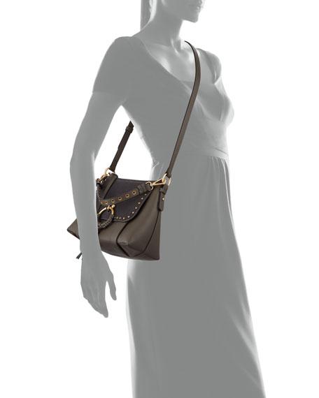 Hana Small Studded Leather & Suede Crossbody Bag
