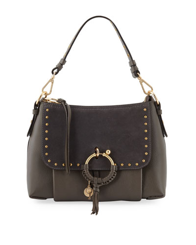 Hana Small Studded Leather & Suede Crossbody Bag