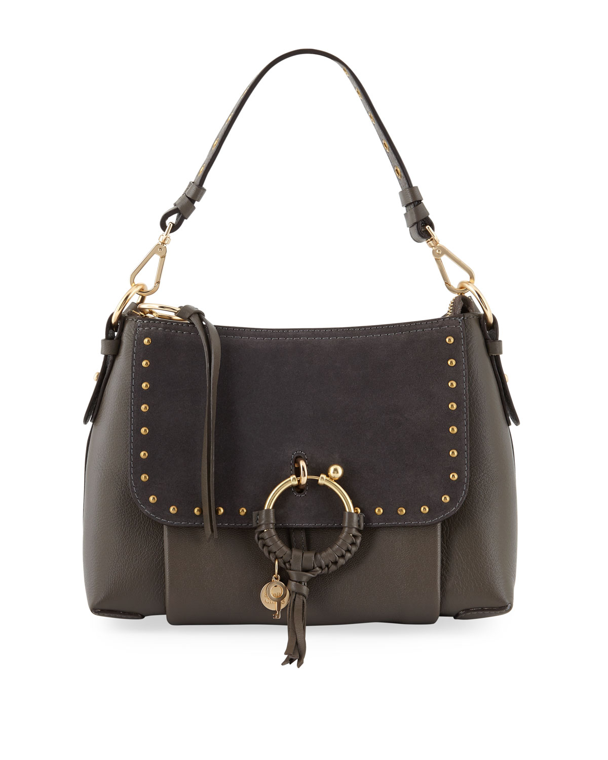 76b3597961df See by Chloe Hana Small Studded Leather   Suede Crossbody Bag ...