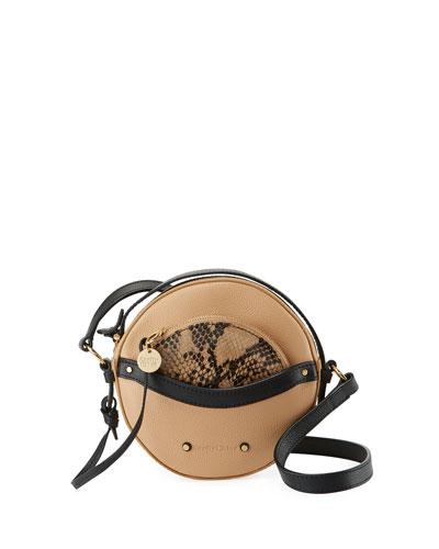 Rosy Mini Round Saddle Shoulder Bag