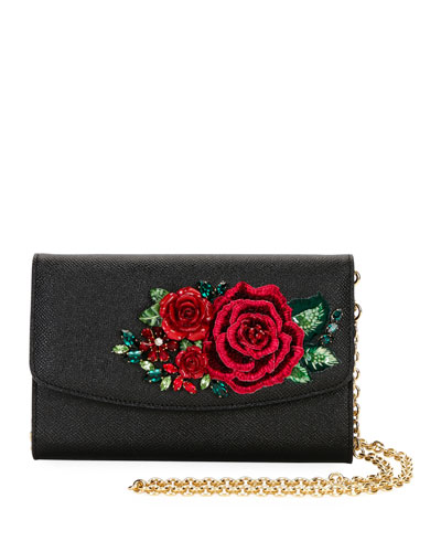 DG Roses Small Stampa Leather Wallet on a Chain/Crossbody Bag