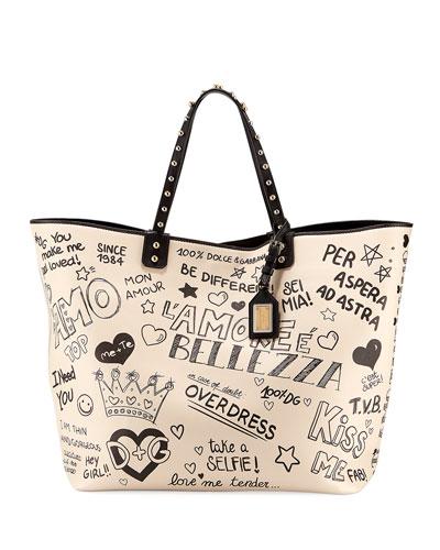 Graffiti Leather Tote Bag