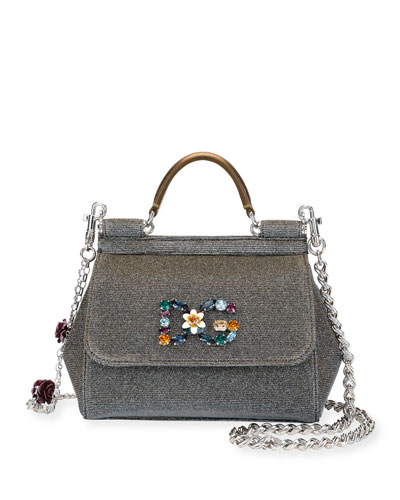 Sicily Mini Notturno Glitter Fabric Top-Handle Bag
