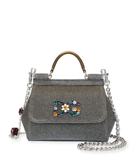 Sicily Mini Notturno Glitter Fabric Top-Handle Bag