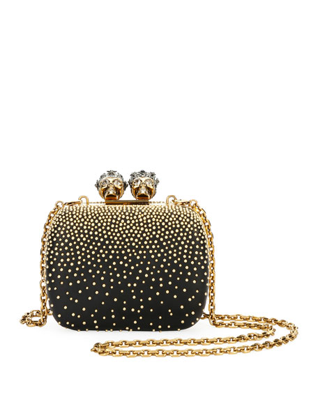 Queen & King Skull Mini Box Clutch Bag