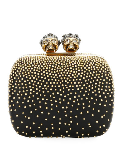 Queen & King Skull Mini Box Clutch Bag