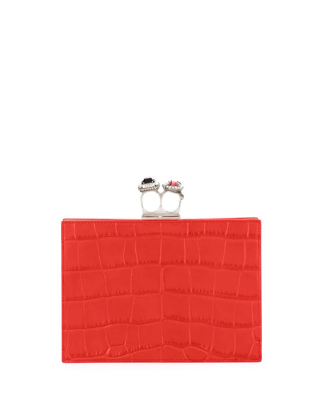 Jeweled Double Ring Crocodile-Embossed Clutch Bag - Silvertone Hardware