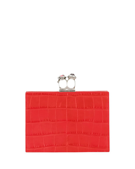Jeweled Double Ring Crocodile-Embossed Clutch Bag - Silvertone Hardware in Red