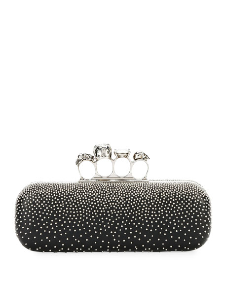 Four-Ring Knuckle Studded Napa Box Clutch Bag