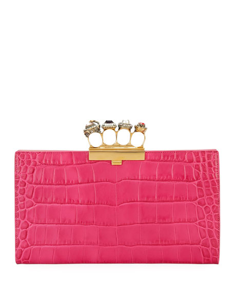 Jeweled Four Ring Crocodile-Embossed Clutch Bag, Dark Pink