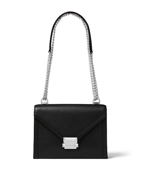 Michael Kors Whitney Large Leather Shoulder Bag in Black