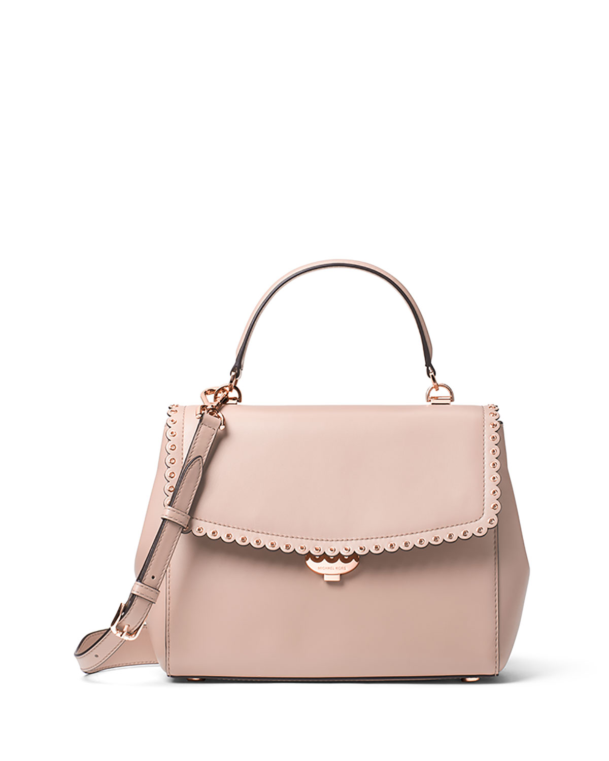 Michael Kors Ava Medium Saffiano Satchel Bag Light Pink Gold