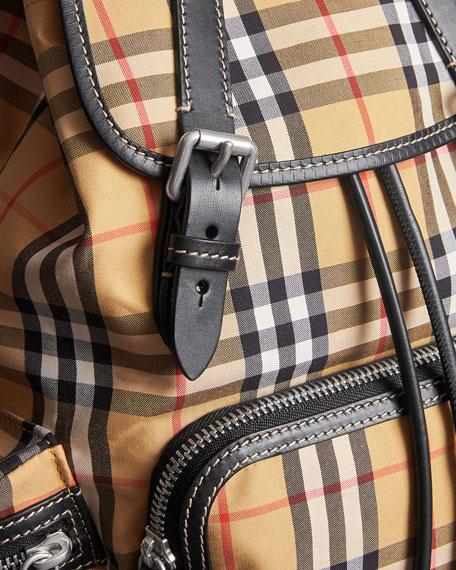 Vintage Medium Check Sailing Canvas Rucksack Backpack