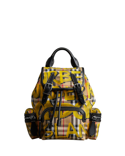 Graffiti Check-Print Small Rucksack Backpack