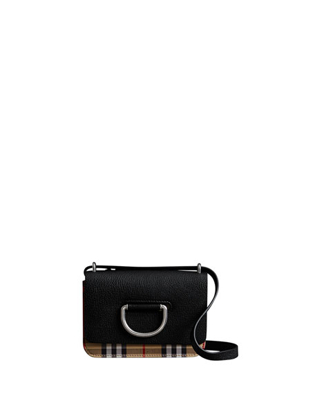Burberry Mini D-Ring Check Crossbody Bag