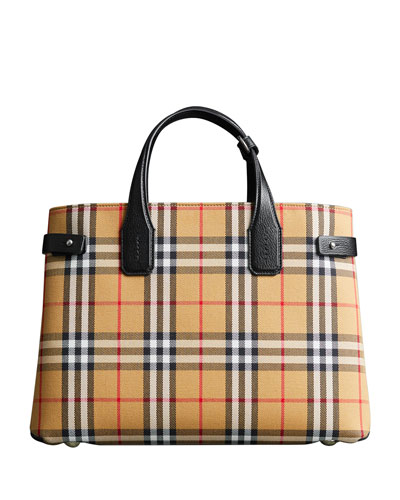 Vintage Check Medium Banner Tote Bag