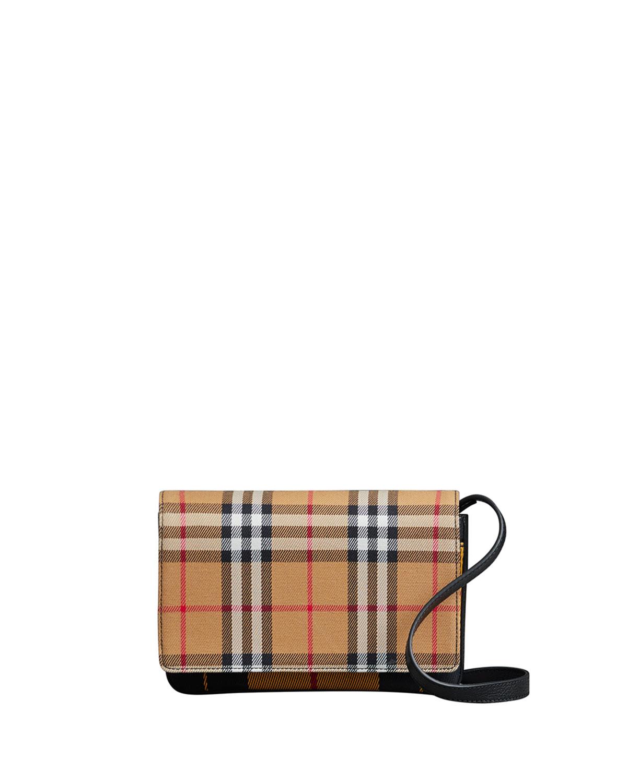 Burberry Tartan Mix Hampshire Wallet with Strap  5d105b0516b0b
