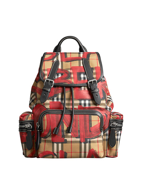 Burberry Graffiti-Print Medium Rucksack Backpack