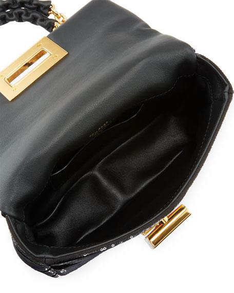 Natalia Zebra Sequins Large Shoulder Bag