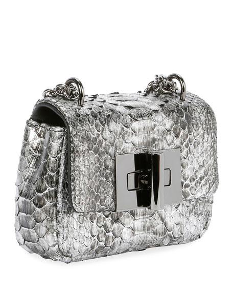 Natalia Laminated Python Mini Shoulder Bag