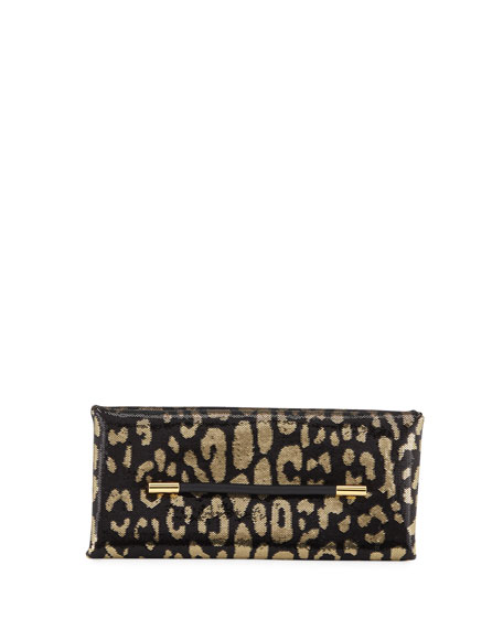Ava Sequin Jaguar Clutch Bag in Gold