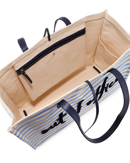 out of office striped tote bag