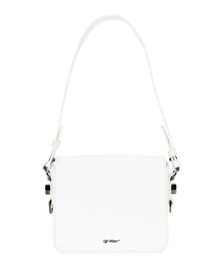 Diagonal Stripe Leather Flap Shoulder Bag