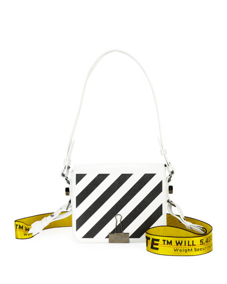 Off-White Diagonal Stripe Leather Flap Shoulder Bag