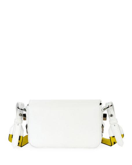 Mini Striped Saffiano Leather Flap Crossbody Bag with Binder Clip