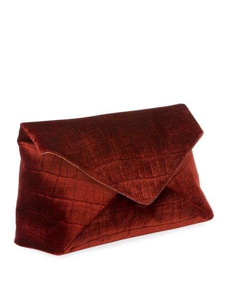 Crocodile-Embossed Velvet Envelope Clutch Bag