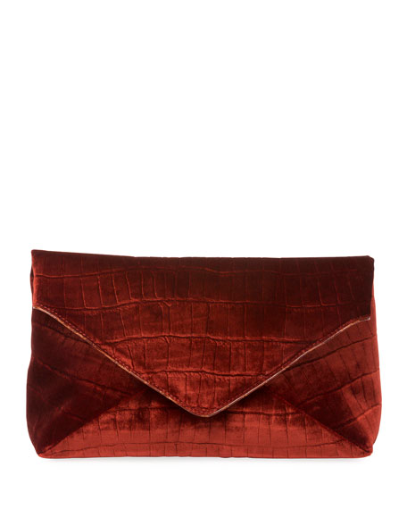 Crocodile-Embossed Velvet Envelope Clutch Bag