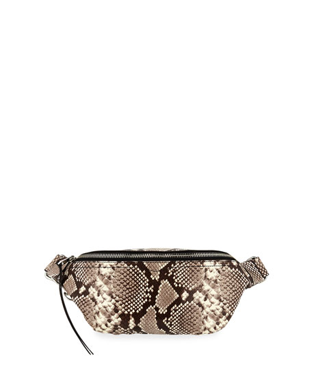 Rebecca Minkoff Bree Snake-Print Denim Belt Bag