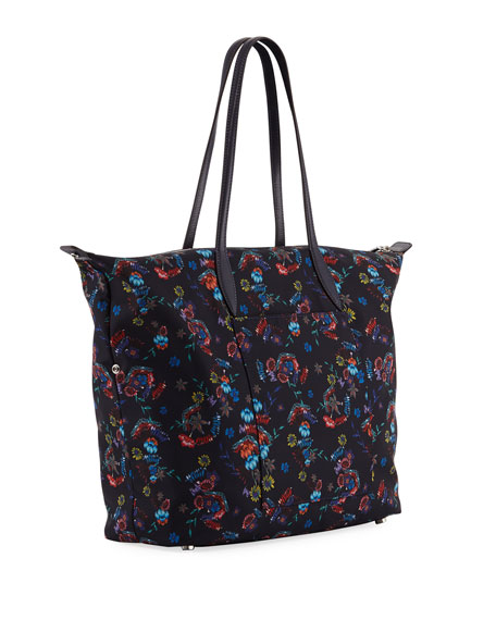 Washed Floral Nylon Tote Bag