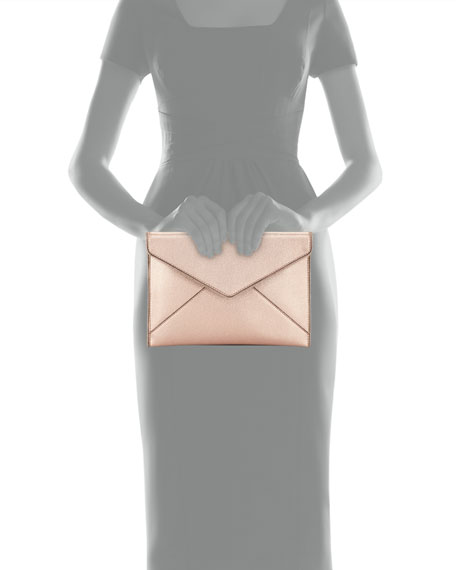 Leo Metallic Leather Envelope Clutch Bag