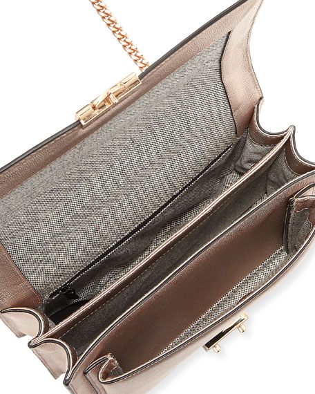 Christy Medium Metallic Leather Shoulder Bag