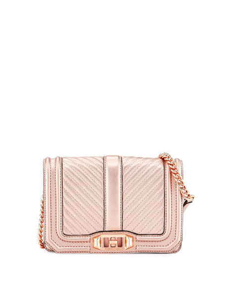 Rebecca Minkoff Love Small Quilted Metallic Leather Crossbody