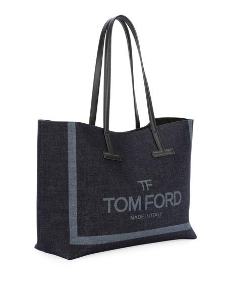 Small T Printed Denim Tote Bag