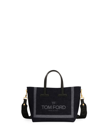 TOM FORD T Tote Mini Denim Logo Crossbody