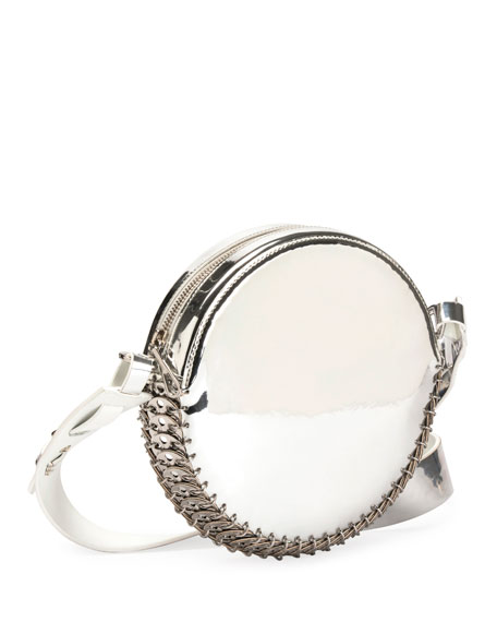 14#02 Crackled Metallic Leather Circle Bag