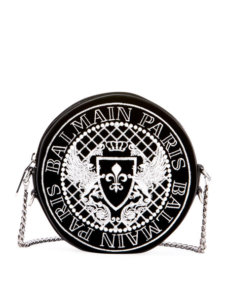 Disco Embroidered Logo Crossbody Bag, Black