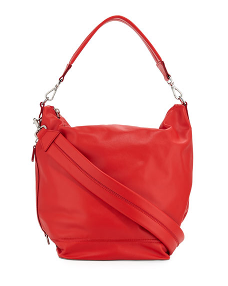 PACO RABANNE Faux Leather Convertible Hobo - Red in Red/ Silver